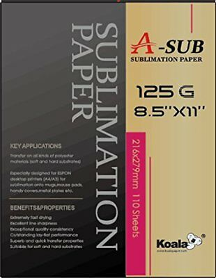 A-SUB Sublimation Paper 8.5''x11'',110 sheet, EPSON ME,RICOH GX,SAWGRASS printer