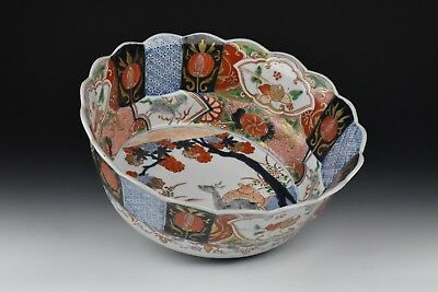 Meiji Period Japanese Imari Porcelain Fruit Bowl w/ Deer