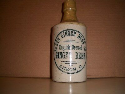 old stoneware ginger beer bottle from Akron, Ohio  pre 1900