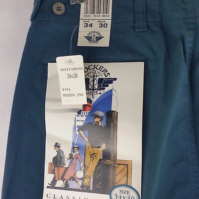 Vintage Dockers Levi's Men's Pleated Front Classic Fit 34 x 30 Green Cotton NEW
