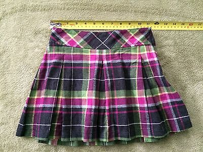 Gymboree Girl's Plaid Skirt With Liner Black Green Pink Size 6 100% Cotton