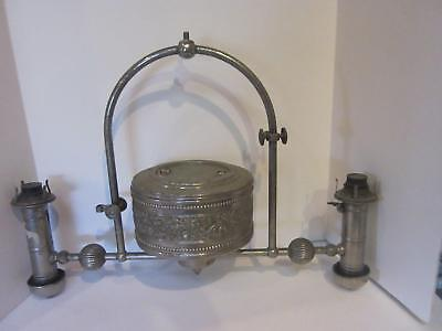Antique Hanging Gas Lamp Silver Ornate 19Th Century