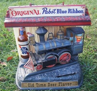 PABST BEER TRAIN LIGHT UP SIGN VINTAGE 1960s PABST BLUE RIBBON MILWAUKEE WI