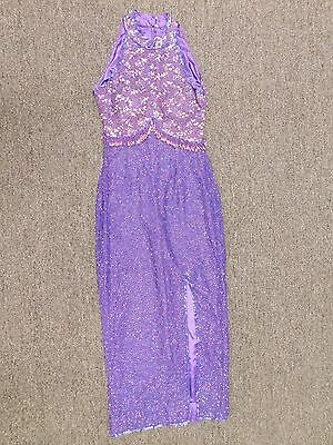Vintage Sleeveless Beaded & Sequin Purple Gown by Taj (Size S, WF)