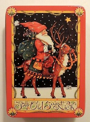 Vtg Mary Engelbreit Christmas Tin Jolly Old Saint Nick Midwest of Cannon Falls