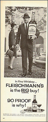 1964-Vintage ad for Fleischmann's Blended Whiskey`Big Bottle`60's fashion