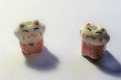 Porcelain Animal Beads, Fancy Cats, Approx. 15mmx15mm,  #302