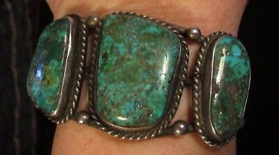 Beautiful, Vintage,  (Assumed) Navajo Sterling And Natural Turquoise Bracelet
