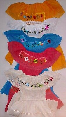 Girl Dress Folklorica Mexican Lace Embroidered on front Variety color SZ 1-4T