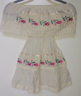 Mexican Folklorico Girls Dress Beige with Pink Flower size 4-5