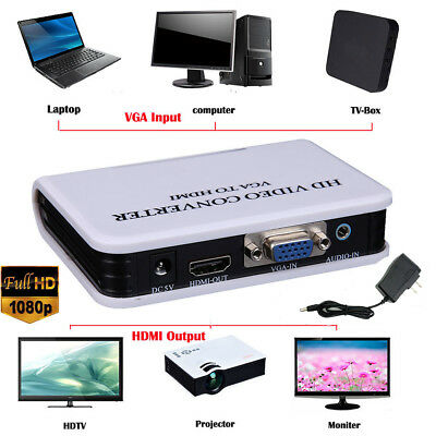 Audio VGA to HDMI Full HD 1080P HDTV Video Converter Adapter Box For PC Laptop