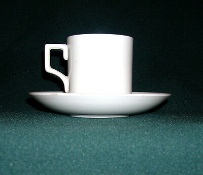 A Pure White Antique Taylor & Kent English Bone China Demitasse Cup And Saucer
