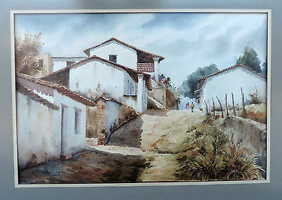 Original Watercolor Painting Cacalotepec, Oaxaca, Mexico Artist Jorge Martinez M
