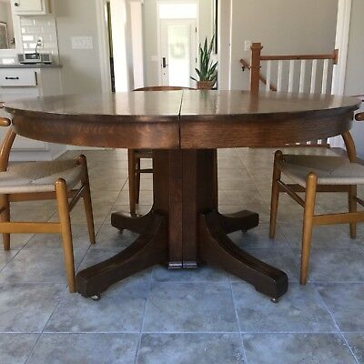 "Restored 54"" Round Oak Antique Dining Table with 4 matching leaves"