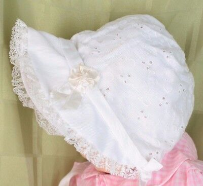 Vintage Baby Infant Doll White Ribbed Eyelet Trim Satin Ribbon Bonnet