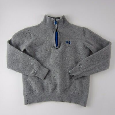 Under Armour Grey Blue Long Sleeve Boys Pullover Sweater Size L 100% Merino Wool