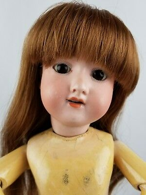 """Antique Doll German Armand Marseille 390n DRGM246/1 Jointed Body 16"""" Brown Eyes"""
