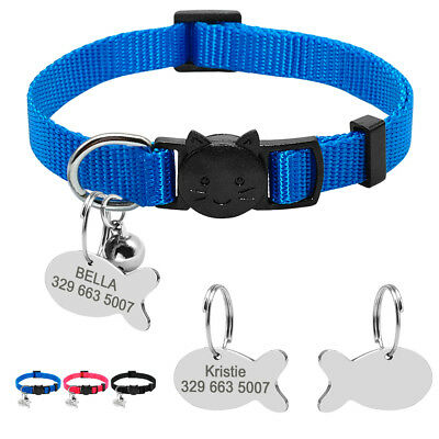Breakaway Personalised Cat Collars & ID Tags Quick Release for Small Dog Kitten