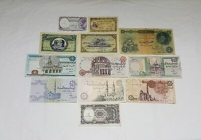 Egyptian Currency notes. 12 Very Rare Collectible Notes. ENL. # 013