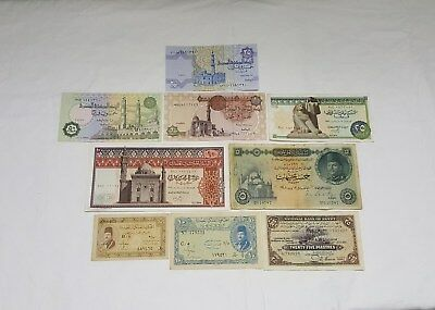 Egyptian Currency notes. 9 Very Rare Collectible Notes. ENL. # 014