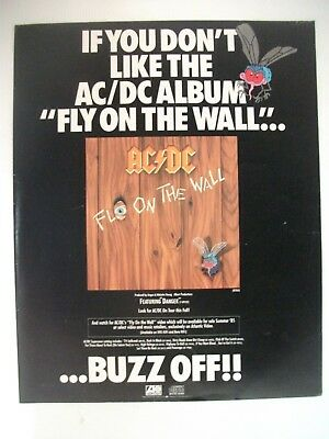 """If You Don't Like The Ac/dc Album """"fly On The Wall"""" ...buzz Off!! Promo Advert"""