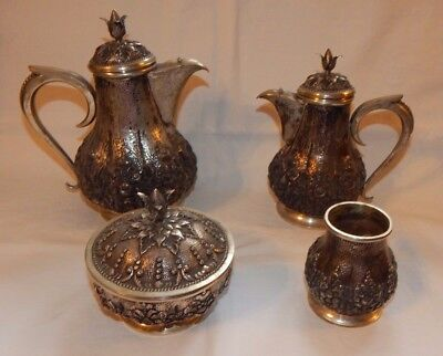 Beautiful AD 800 Coin Silver 4 Piece Tea Set with Creamer & Sugar Bowl 811 Dwt