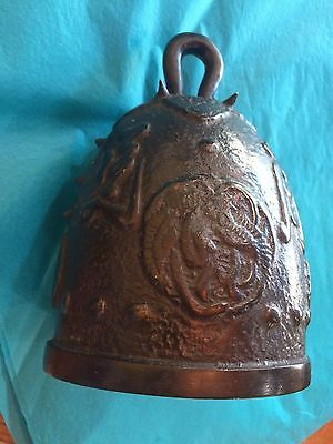 Minty Cast Bronze Metal Spiked Temple Bell Gong North South Phoenix Feng Shui