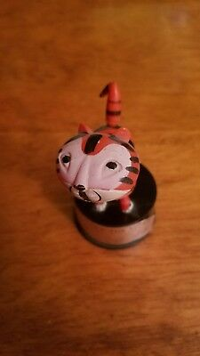 """1960's VINTAGE TERRY THE TIGER KOHNER PUSH BUTTON PUPPET TOY 3"""" Hong Kong"""