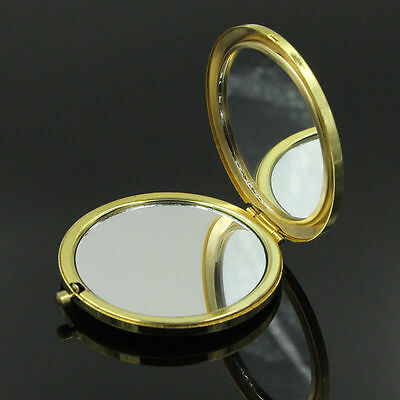 Folding Pocket Round Double Sides Compact Make Up Cosmetic Mirror Silver Gold