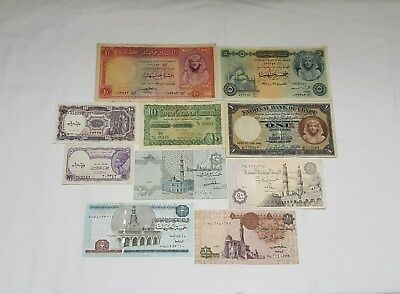 Egyptian Currency notes. 10 Very Rare Collectible Notes. ENL. # 018