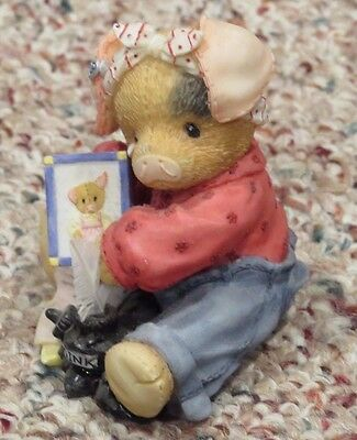 Enesco This Little Piggy 257621 I Mess Miss You Sympathy Get Well Sick Figurine