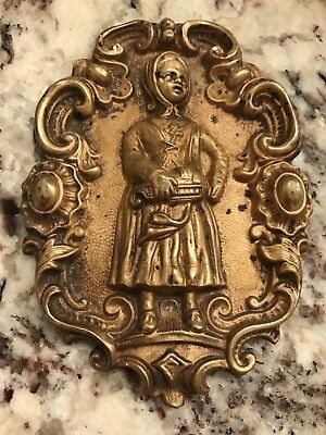 French Antique Gold  Bronze Plaque Finial or Nail Cover Girl