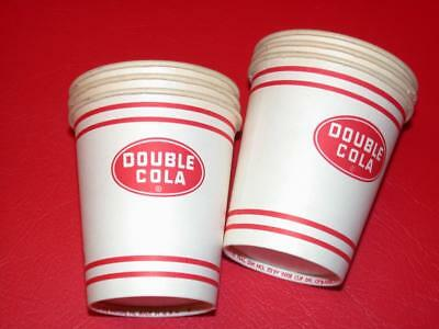 LOT 6 Vintage 1960's DOUBLE COLA SODA 5 oz Paper SAMPLE CUPS Old Store Stock NOS