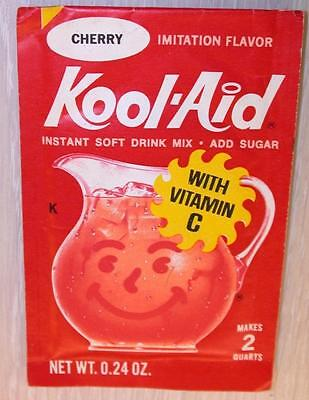 VINTAGE 1960's KOOL-AID FULL PACK Sealed Mip CHERRY FLAVOR store stock NOS mint