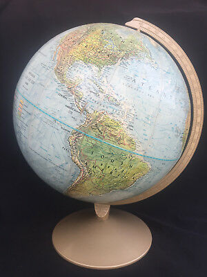 "Replogle 12"" Land & Sea Relief Globe w/ Metal Base in Very Good Condition"