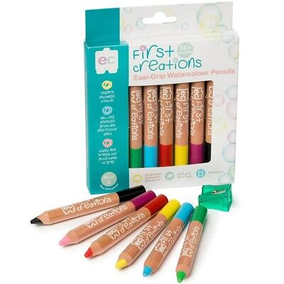 First Creations Easi-Grip Watercolour Wooden Pencils - Set Of 6