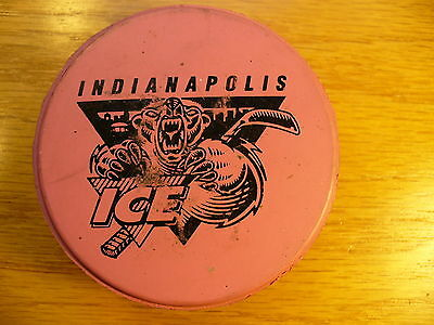 IHL Indianapolis Ice '97 Valentine's Day Pink Hockey Puck Check My Other Pucks