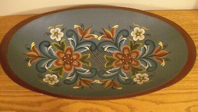 Vintage Hand Painted Folk Art Wooden Oval Shaped Dough Bowl Tray