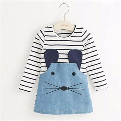 Girls dresses striped patch work character long sleeve with cute mouse