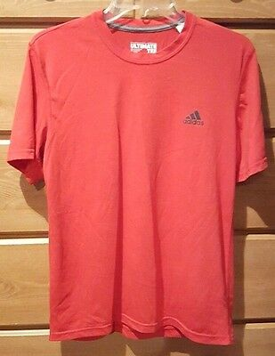 ADIDAS CLIMALITE Ultimate Tee Shirt Short Sleeve Red Athletic Top Mens Size M