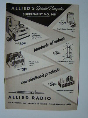 Allied Radio Allied's Special Bargain Supplement Catalog #148 Chicago IL 1955