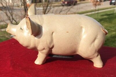 "OLD Ceramic Pottery YORKSHIRE Pig Piggy Bank REALISTIC 6.""L x 3""H"