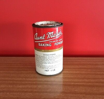 Aunt Mary's Crime Of Tartar Baking Powder Vintage Tin Collectable