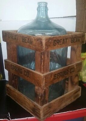 Great Bear Spring Co 5 Gallon Glass Water Bottle Original Matching Wood Crate
