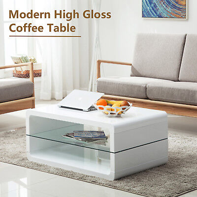 High Gloss White Coffee Table Storage Living Room Furniture With 2 Shelves