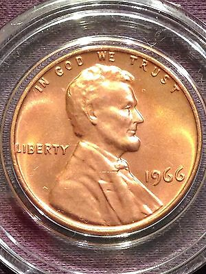 1966 1C RD Lincoln Cent, SMS Coin From Set, BU/MS Gem, Proof Like Uncirculated