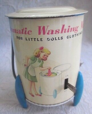 vintage MODERN TOYS Japan litho tin DOLLS CLOTHES WASHING MACHINE  Wind up WORKS