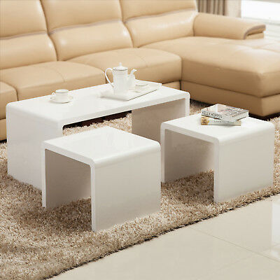 Set Of 3 High Gloss White Coffee Table Side End Living