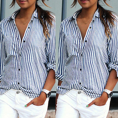 Women Summer Loose Long Sleeve Casual Stripe Top Blouse Fashion Tops T-Shirt