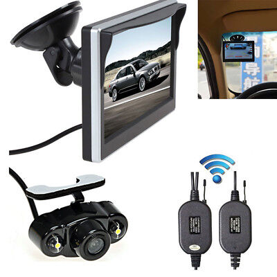 "Wireless 5"" Monitor Rear View Device Backup Reverse Electric Camera Night Vision"